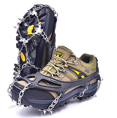 Unigear Traction Cleats Ice Snow Grips with 18 Spikes for Walking Climbing and Hiking Jogging